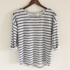 H&M French Terry Striped Pullover Top Size XS